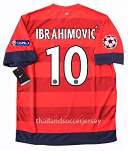 IBRAHIMOVIC' #10 Number Revised New 12-13 S/S PSG Paris Saint Germain AWAY Football Shirt Soccer Jersey UCL Version (US Medium)