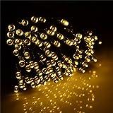 200leds [Solar String Lights] Outdoor Light Starry String Light for Christmas Party Stage Wedding Fairy Lighting - Warm White(200leds - 73ft 22m)