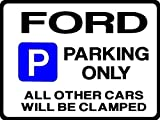 FORD Car Parking Sign -Gift for MONDEO FOCUS COUGAR FIESTA GHIA models -Size Large 205 x 270mm by Custom (Made in UK) (All fixing included)