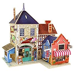 Creative Assemble Puzzle Toys Child Early Education Wooden 3D Puzzle House England Musical Instrument Store