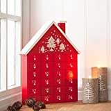 Gisela Graham Wooden Christmas Red Advent Calendar House with Individual Drawers