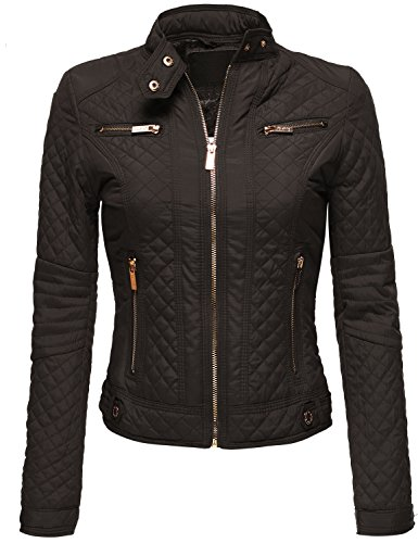 Winter Warm Quilted Padding Fur Lined Slim Fit Moto Jackets Brown L Quilted Thermal Vest