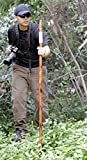 Cord Wrapped Carved Hardwood Wolf Walking Hiking Stick