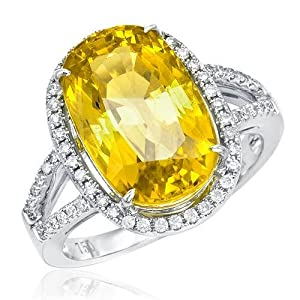 Cocktail Ring With 8.51ctw Precious Stones - Genuine Clean Diamonds and Sapphire Crafted in 18K White Gold. Total item weight 7.0g (Size 6.5)