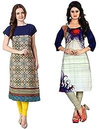 Marmic Fab Women's Pure Crepe Digitally Printed Semi-Stitched Kurtis (combo_kurti_14)(combo_pack_2_ Multicolored)