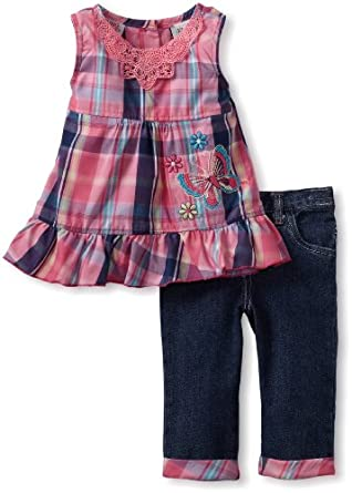Young Hearts Little Girls' 2 Piece Plaid Butterfly Tunic Capri Set, Dark Pink, 3T
