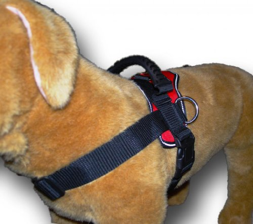 Red Nylon Dog Harness Multipurpose Service Pulling Sport Professional Training Walking Pit Bull Lab for all breeds all sizes variety of colors (Dog Harness Pit Bull compare prices)