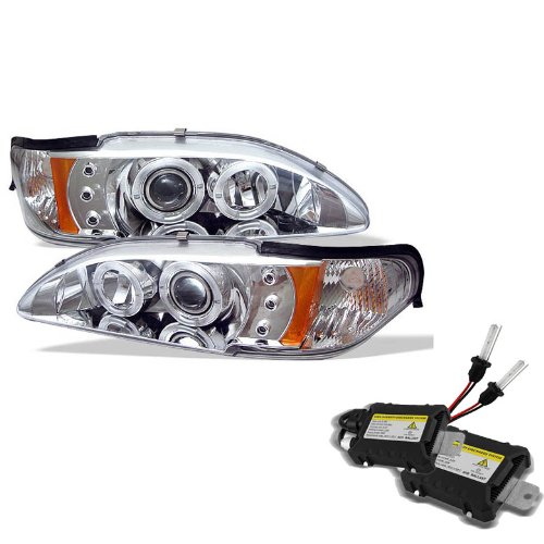 Carpart4U 6000K Xenon Hid Performance Headlights Package For Ford Mustang 1Pc Halo Led ( Replaceable Leds ) Chrome Projector Headlights