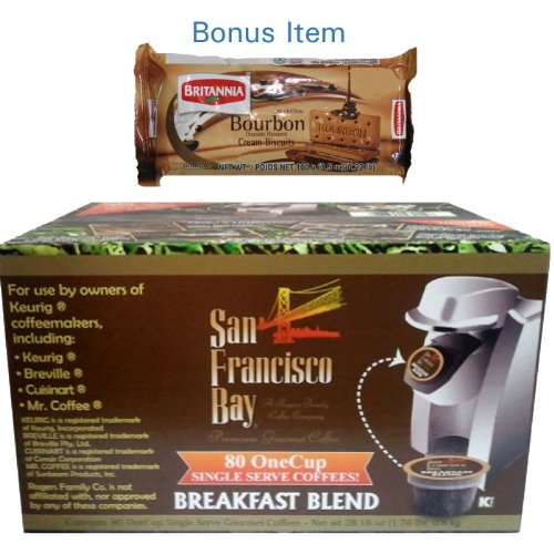 San Francisco Bay Coffee Breakfast Blend - 80 OneCups for Keurig K-Cup Brewers + FREE BONUS Biscuits