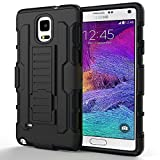Note 4 Case, GOODEX® Shockproof Drop Proof Heavy Duty Belt Clip Shell Holster 3 in 1 Combo Case for Samsung Galaxy Note 4 Dual Layer Full-body Rugged Hybrid Impact Resistant Protective Case Cover BLACK