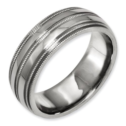 Bridal Titanium Grooved And Beaded Edge 8Mm Polished Band