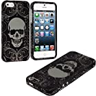 myLife Black + White Elegant Skull Series (2 Piece Snap On) Hardshell Plates Case for the iPhone 5/5S (5G) 5th Generation Touch Phone (Clip Fitted Front and Back Solid Cover Case + Rubberized Tough Armor Skin)