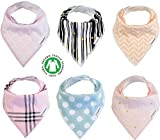 Baby Bandana Drool Bibs 6 Pack for Girls Organic Cotton for Teething Burp Cloth