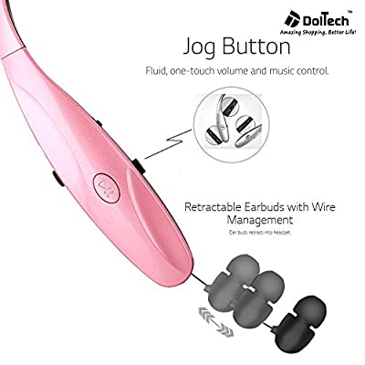 Doltech HBS-950 Bluetooth Headphones, Sports Headsets, Earphone for Iphone 6s, Plus, 6, 5s 5c 5 4s, Samsung, Sony, Htc, Lg and Other Bluetooth Enabled Device (950 Pink)