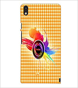 PrintDhaba Random Design D-4859 Back Case Cover for HUAWEI ASCEND P6 (Multi-Coloured)