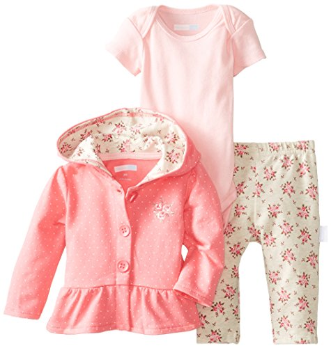 Vitamins Baby Baby-Girls Newborn Dot And Rose 3 Piece Jacket Pant Set, Pink, 6 Months front-983001