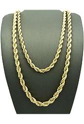 "Hip Hop Rapper's 5mm 24"", 6mm 30"" Rope Chain 2 Necklace Set Gold Tone RC1164G"