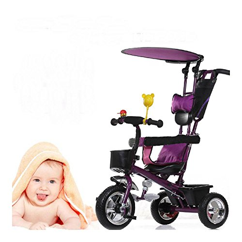 Children-Kids-Toddlers-4-In-1-Tricycle-Bike-Ride-Trike-with-Handle-Push-Canopy