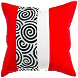 Avarada Striped Spiral Decorative Throw Pillow Cover 16x16 Inch Red White