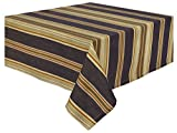"100% Cotton Blue Green & Brown Striped 54x90"" Tablecloth - Big Horn"