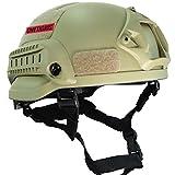 OneTigris ミリタリーヘルメット MICH 2002 米軍レプリカ装備 サバゲー・作業用・山用など 多目的 軽量 マウントレール付き かっこいい (ブラウン)