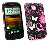 Emartbuy® LCD Screen Protector And Butterfly Garden Clip On Protection Case/Cover/Skin For HTC Desire X