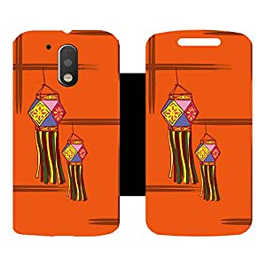 Skintice Designer Flip Cover with Vinyl wrap-around for Motorola Moto G4 Plus, Design - Diwali lamp