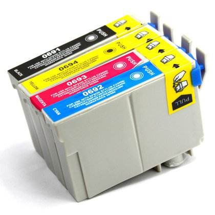 4 Pack - Toners & More ® Remanufactured Inkjet Cartridge Set for Epson T069 #69, T069120 Black, T069220 Cyan, T069320 Magenta, T069420 Yellow, Compatible with Epson Stylus CX5000, CX6000, CX7000F, C120, CX7400, CX8400, CX9400 Fax, CX7450, NX100, NX300, NX400, NX200, NX415, NX515, NX115, NX510, NX410, NX215, NX110, N10, CX9475 Fax, NX305, N11, NX105, NX11, WorkForce 500, 600, 30, 40, 610, 310, 315, 615, 1100, 1300