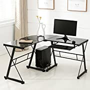 Mecor Computer Desk Corner L-Shape Glass Laptop Table Workstation with Keyboard Tray Home Office Furniture Black