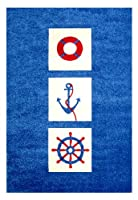 "Little Helper IVI Exclusive Hypo-Allergenic Large, Thick Pile & High Quality 3D Embossed Rug in ""Nautical"" Design, Blue (134 x 180cm) from IVI"