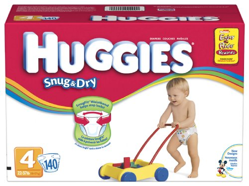 Huggies Snug & Dry Diapers, Size 4, 140-Count