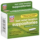 Rite Aid Pharmacy Laxative, Fast Relief, Bisacodyl USP 10 mg, Suppositories, 16 suppositories