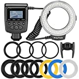 Neewer® 48 Macro LED Ring Flash Light Includes 4 Diffusers (Clear, Warming, Blue, White) For Canon, Nikon, Panasonic, Olympus, Pentax SLR Cameras (Will Fit 49, 52, 55, 58, 62, 67, 72, 77mm Lenses) Canon Digital EOS Rebel SL1 (100D), T5i (700D), T4i (650D), T3 (1100D), T3i (600D), T1i (500D), T2i (550D), XSI (450D), XS (1000D), XTI (400D), XT (350D), 1D C, 70D, 60D, 60Da, 50D, 40D, 30D, 20D, 10D, 5D, 1D X, 1D, 5D Mark 2, 5D Mark 3, 7D, 6D, Nikon D5300, D5000, D3000, D3200, D5100, D5200, D3100, D7000, D7100, D4, D800, D800E, D600, D610, D40, D40x, D50, D60, D70, D80, D90, D100, D200, D300, D3, D3S, D700