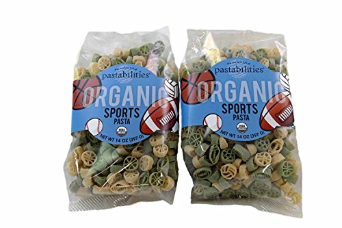 Kids Organic Sports Pasta - Football, Volleyball, Baseball and Basketball Noodle Shapes - non GMO - 2 Packages, 14 Ounces Each (Basketball Pasta compare prices)