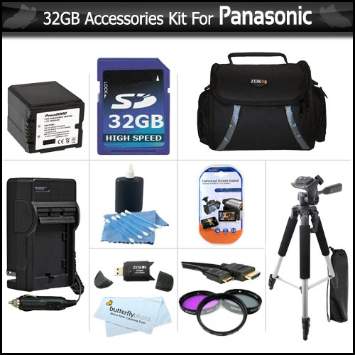 32GB Kit For Panasonic HDC-TM700K HDC-HS700K HDC-SDT750K HDC-SD600 Camcorder Includes 32GB High Speed SD Memory Card + EXTENDED (3000Mah) Replacement Panasonic VW-VBG260 Battery + AC/DC Charger + 3pc Filter Kit + Case + 57 Tripod + HDMI Cable + More