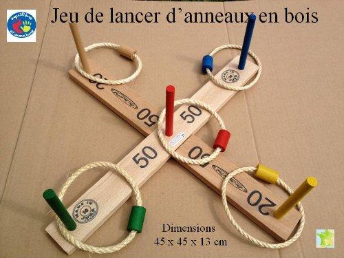 Jeu de lancer d'anneaux en bois, artisanat Français en sac