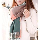Wander Agio Women's Fashion Long Shawl Big Grid Winter Warm Large Scarf Pink
