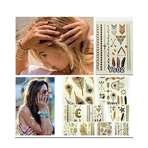 colormixsr10-piezas-de-plata-y-oro-temporal-tattooshigh-brillo-del-reflejo-y-de-la-moda-estilo-disen