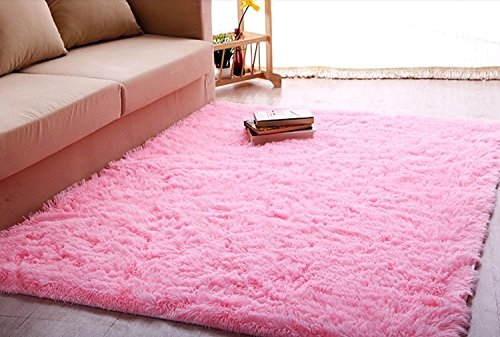 buy Ultra Soft 4.5 Cm Thick Indoor Morden Area Rugs Pads, New Arrival Fashion Color [Bedroom] [Livingroom] [Sitting-room] [Rugs] [Blanket] [Footcloth] for Home Decorate. Size: 4 Feet X 5 Feet (Pink) for sale