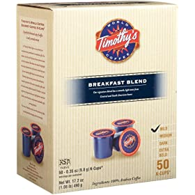 Timothy's World Coffee Breakfast Blend K-Cups for Keurig Brewers (Pack of 50)