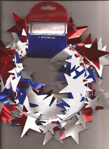 Foil Star Patriotic Garland, Red, White and Blue, 25′