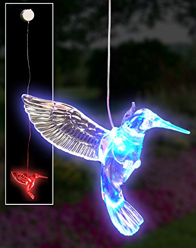 Hummingbird Led Hanging Color-Changing Light, Acrylic, Window Decoration With Suction Cup