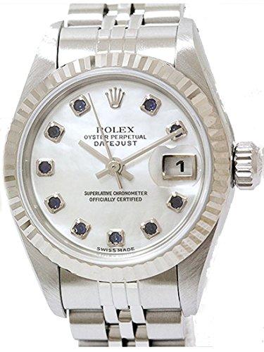 【大幅値下げ!】ROLEX(ロレックス) デイトジャスト 79174NGS Y番 WG×SS 10Pサファイア シェル文字盤 研磨済み【レディース腕時計】【タイムレックス】【中古】【RCP】