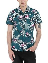 Zobello Men's Hawain Print Camp Shirt (11086A_Green Hawaiian Print_Medium)