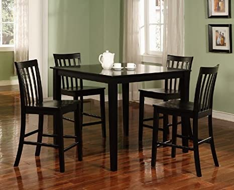 Brookville 5-Piece Black Counter Dining Room Set