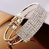 Fashion Elegant Lady Bangle Wristband Crystal Cuff Bling Bracelet(gold)