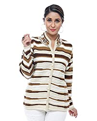 Perroni Women's Embroidered Cardigan (Camel, L Size)