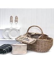 Deluxe 2 Person Boat Picnic Hamper & Accessories Including Green Waterproof Fleece Blanket, Chiller Bag, Wine...