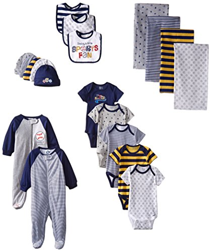 Gerber Baby-Boys Newborn Sports 19 Piece Essentials Gift Set, Sports, New Born
