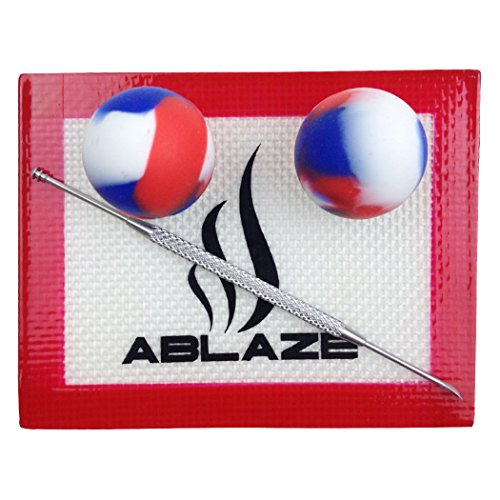 ABLAZE Red Dab Nonstick Non Stick Oil Wax Silicone Mat Pad Container Jar Tool Kit 5ML